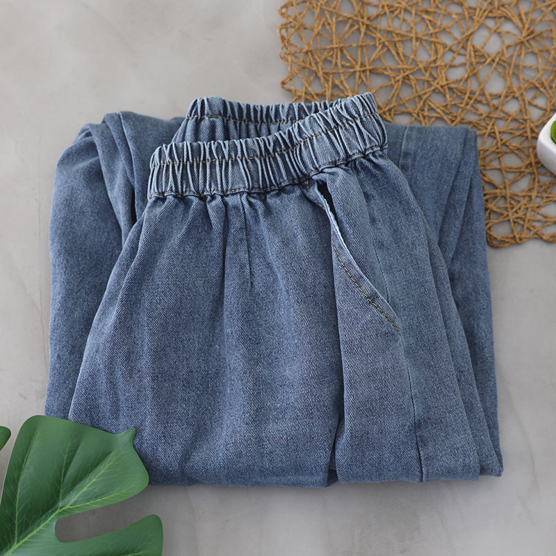 Spring Pleated Loose Simple Blue Jeans