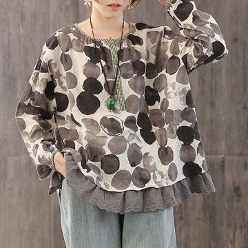 Spring Polka Dot Lace Hem Casual Blouse