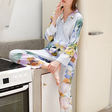 Spring Printed Turn-down Collar Casual Pajamas