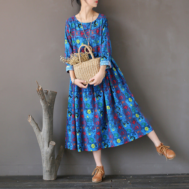 Spring Retro Loose Pleated Print Dress