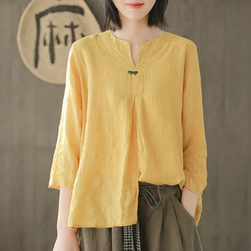 Spring Solid Color Split Neck Blouse