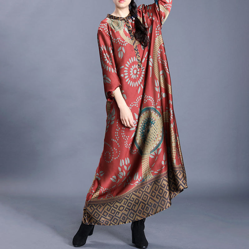 Spring Stand Collar Printed Mulberry Silk Dress