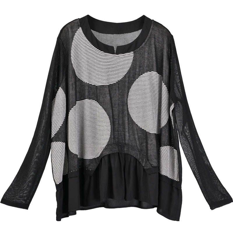 Women Summer 3/4 Sleeve Big Dot Stripe T-Shirt