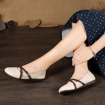 Spring Summer Belt Buckle Pure Color Leather Flat Shoes