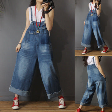 Spring Summer Burr Pockets Blue Denim Cotton Overalls