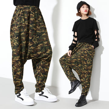 Spring Summer Camouflage Cotton Drop Crotch Pants