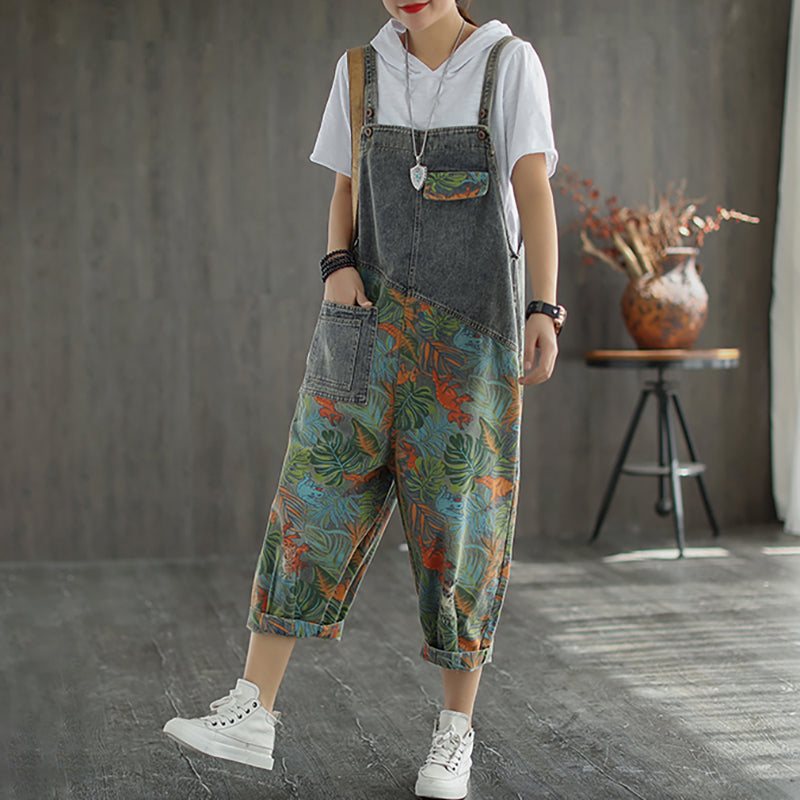 Spring Summer Casual Splicing Leaf Printed Jumpsuit