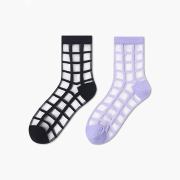 Spring Summer Checks Cotton Socks For Women (3 Pairs)