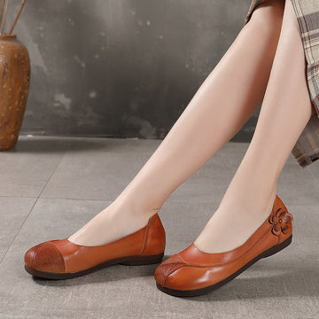 Spring Summer Flower Leather Splicing Flat Shoes