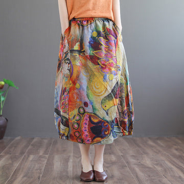 Spring Summer Printed Linen Calf Length Skirt