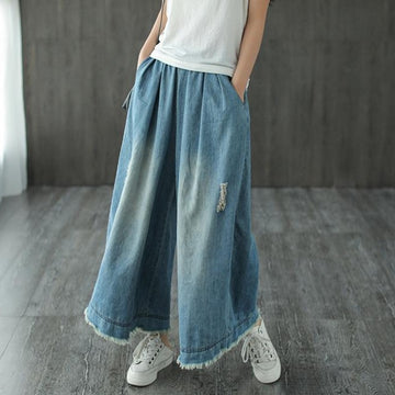 Spring Summer Pure Color Hole Wide Leg Jeans