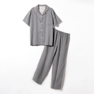 Spring Summer Stripe Cotton Short Sleeve Pajamas For Men