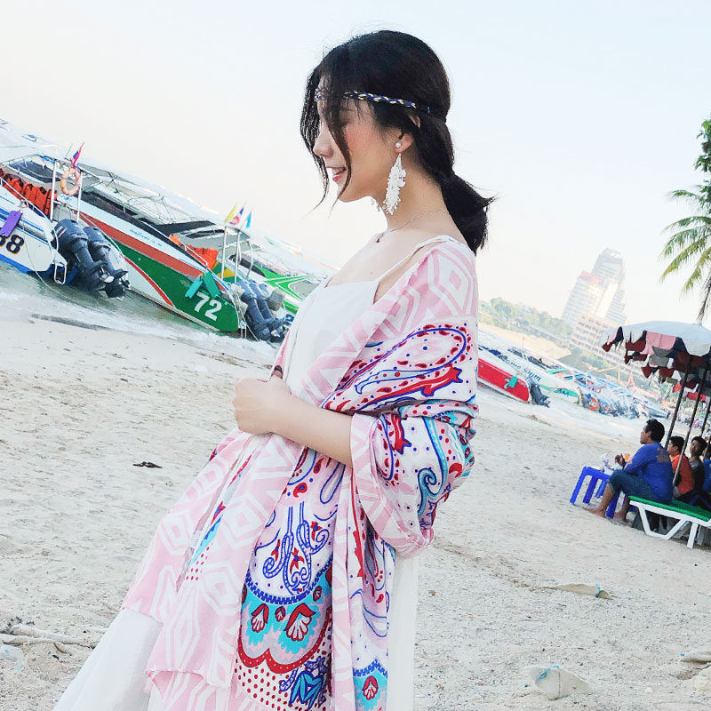 Spring Summer Thin Tassel Printed Sunscreen Scarf