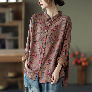 Spring Women Commute Floral Shirt