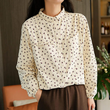 Women Floral Lace Corduroy Shirt