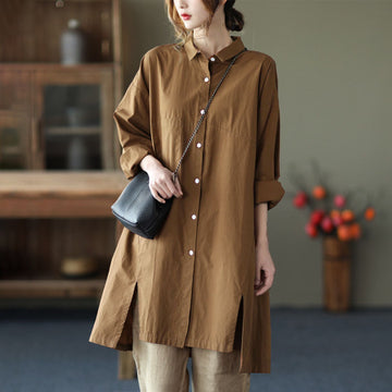 Spring Women Pure Color Long Shirt