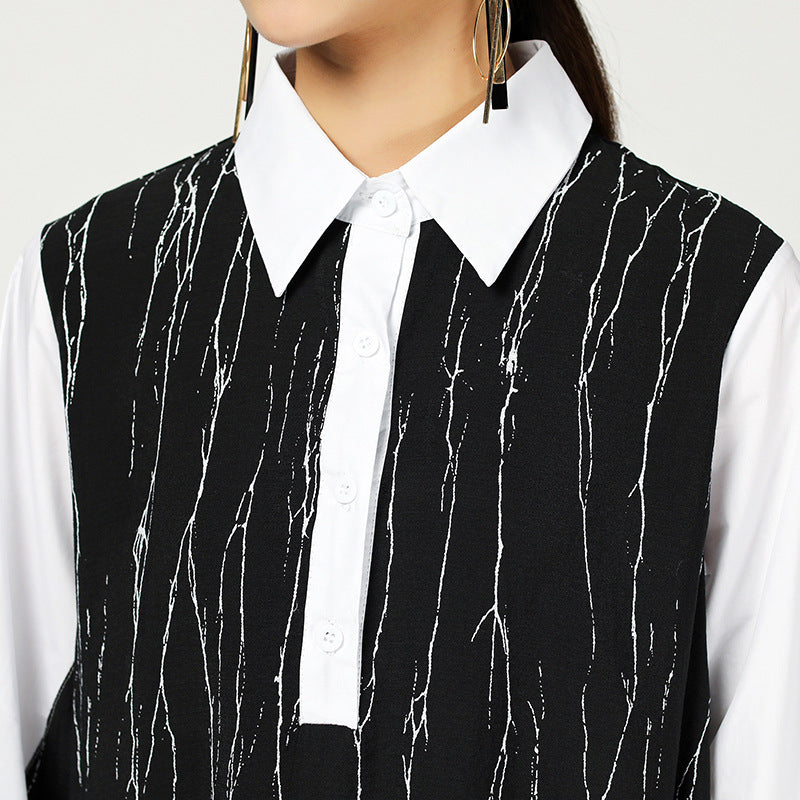 Spring Abstract Strips Irregular Polo Collar Dress