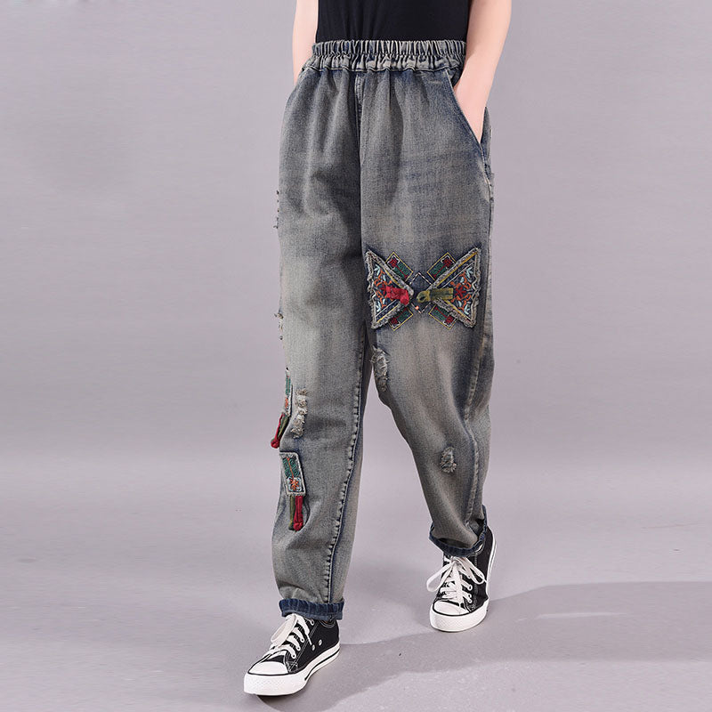 Spring Applique Frayed Casual Jeans