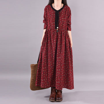 PLUS Size - Spring Autumn Floral Casual V-neck Dress