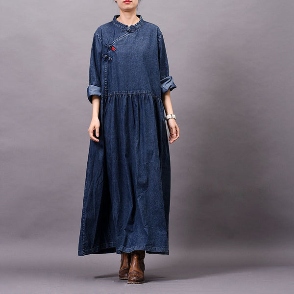 Spring Autumn Frog Solid Color Denim Dress