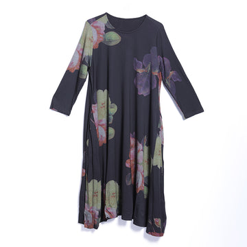 Spring Casual Floral Mid-Calf Pullover Loose Long Sleeve Dress