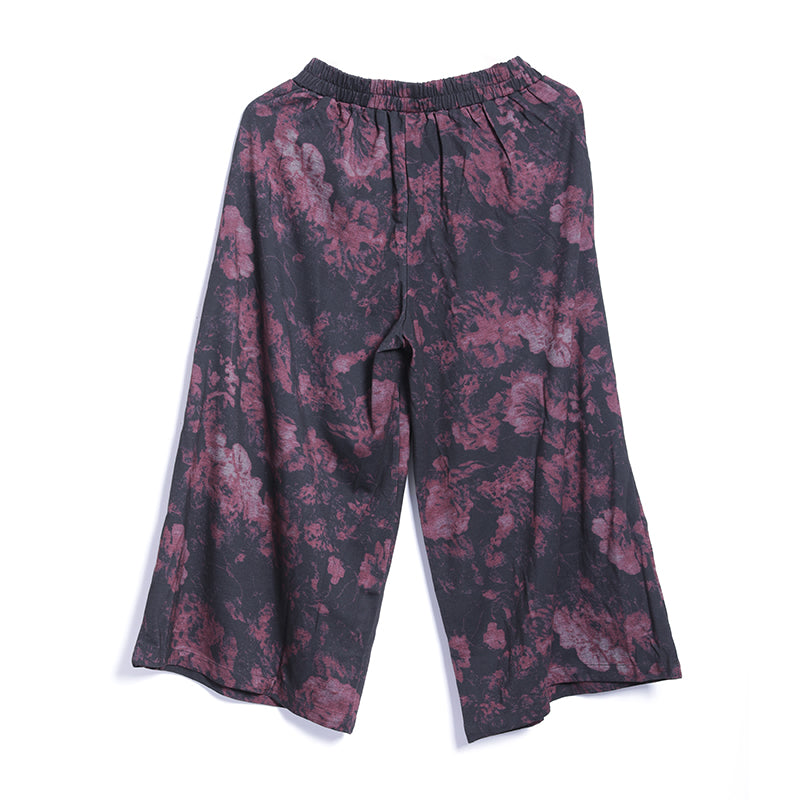 Spring Casual Print Long Sleeve Tops Wide Leg Pants Sets