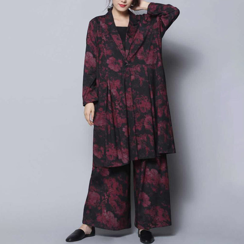 Spring Casual Print Long Sleeve Wide Leg Pants Sets