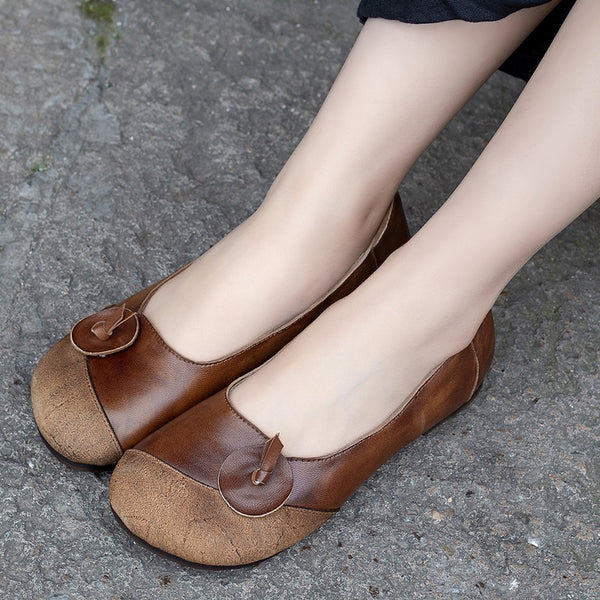 Spring Designed Female Leather Flat Shoes