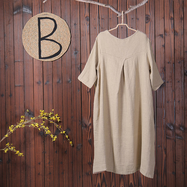 Spring Embroidery Casual O Neck Linen Dress