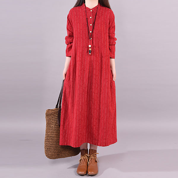 Spring Fashion Round Neck Striped Casual Long Sleeve Dress