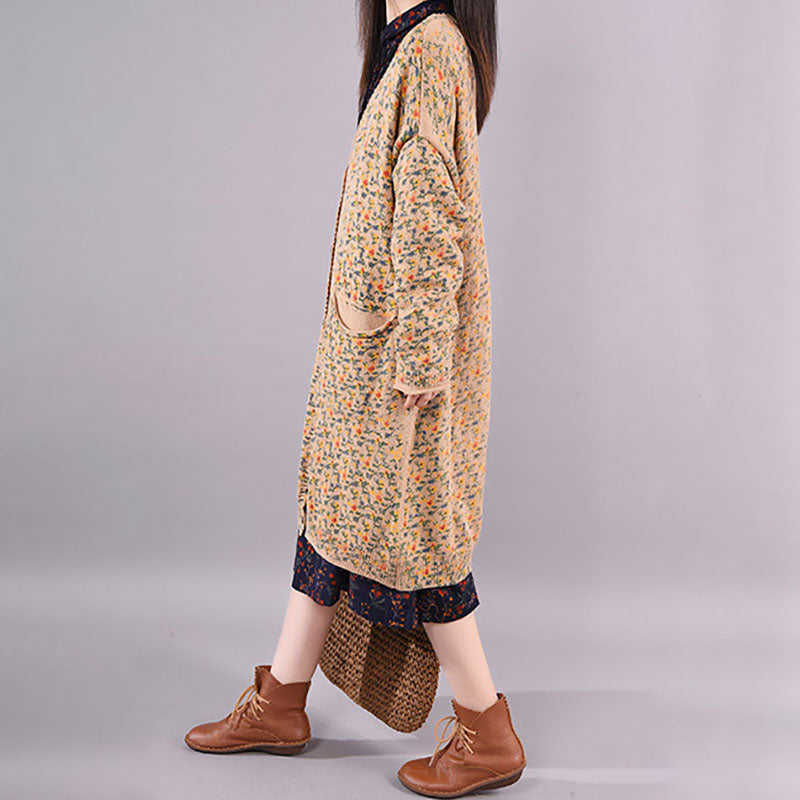 Spring Floral Comfortable Knitted Coat