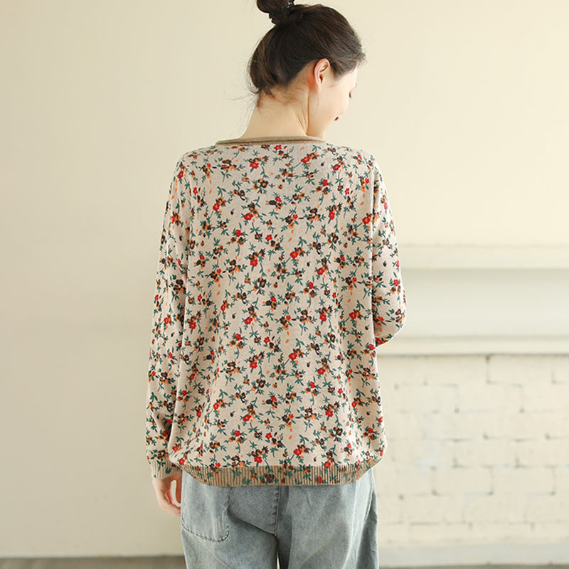Spring Floral Thin Knitted Shirt