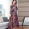Spring French Style Print Vintage Maxi Dress