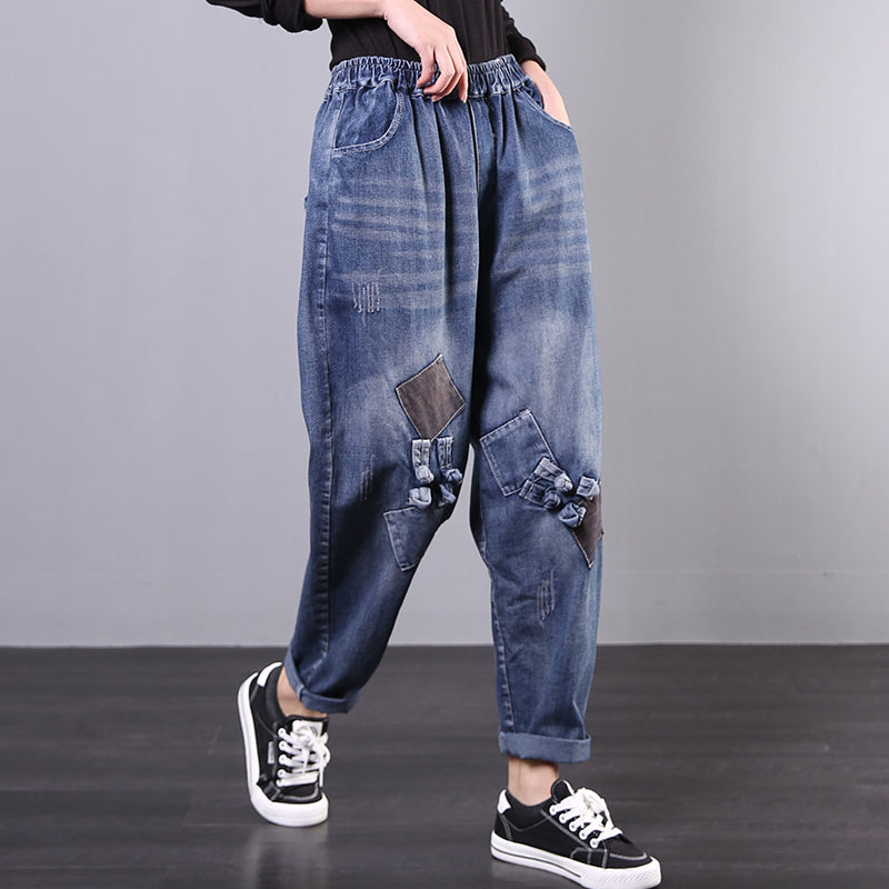 Spring Frog Patchwork Casual Jeans