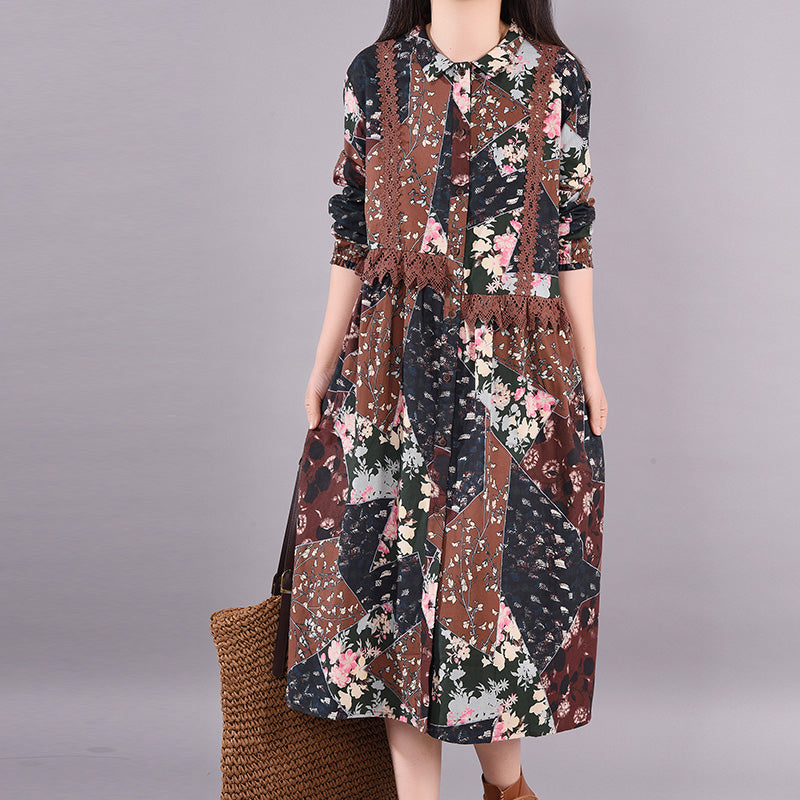 Spring Hollow Out Floral Printed Dress