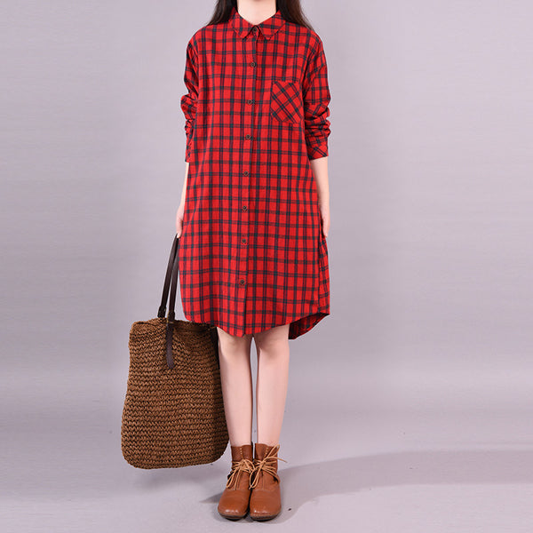 Spring Irregular Lattice Single Breasted Loose Casual Dress