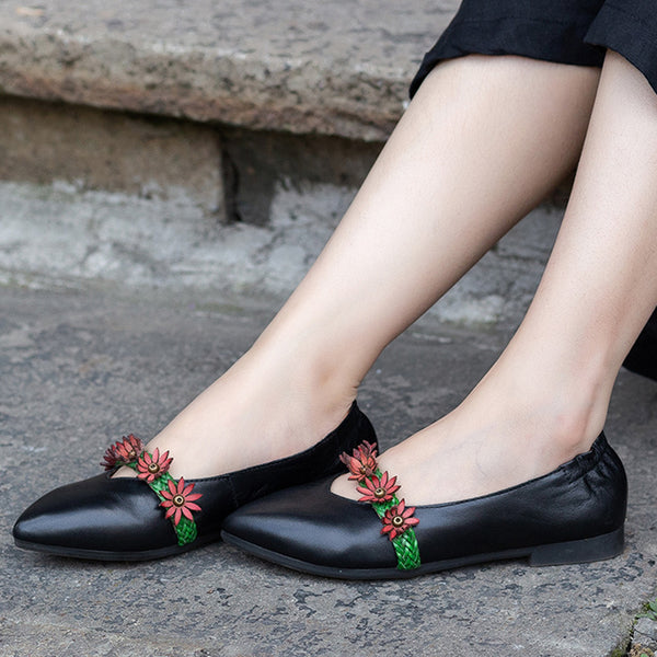 Spring Leather Flower Literature Shoes