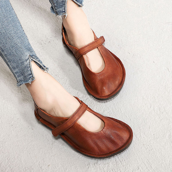 Spring Leather Solid Women Flat Shoes