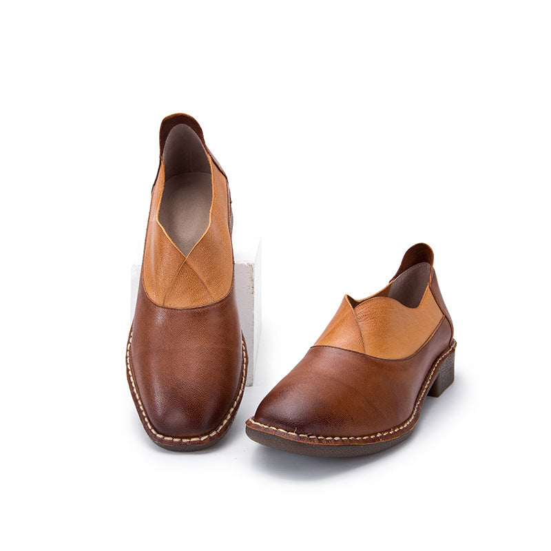 Spring Leather Stitching Flat Shoes