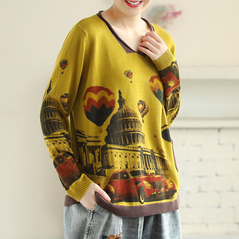 Spring Long Sleeve Printed Knitted Shirt