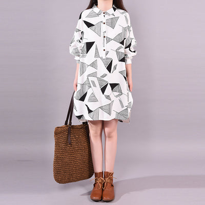 Spring Loose Cause Linen  Single Breasted Raglan Sleeve Dress