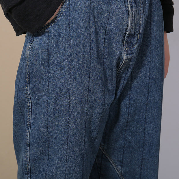 Spring Loose Deep Crotch Denim Jeans
