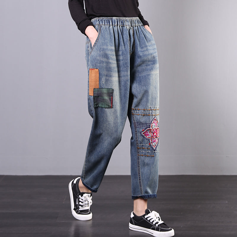 Spring Patchwork And Embroidery Casual Jeans