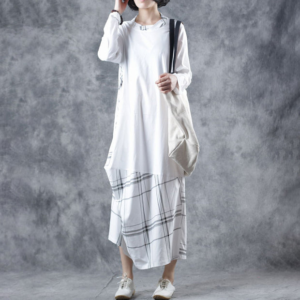 Spring Plaid Spliced Irregular Midi Dress