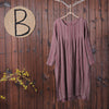 Spring Pleated Cotton Linen Pullover O-Neck Dress