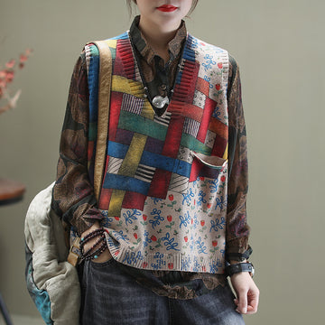 Spring Printed V-neck Knitted Vest