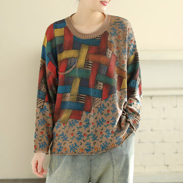 Spring Retro Round Neck Printed Knitted Shirt