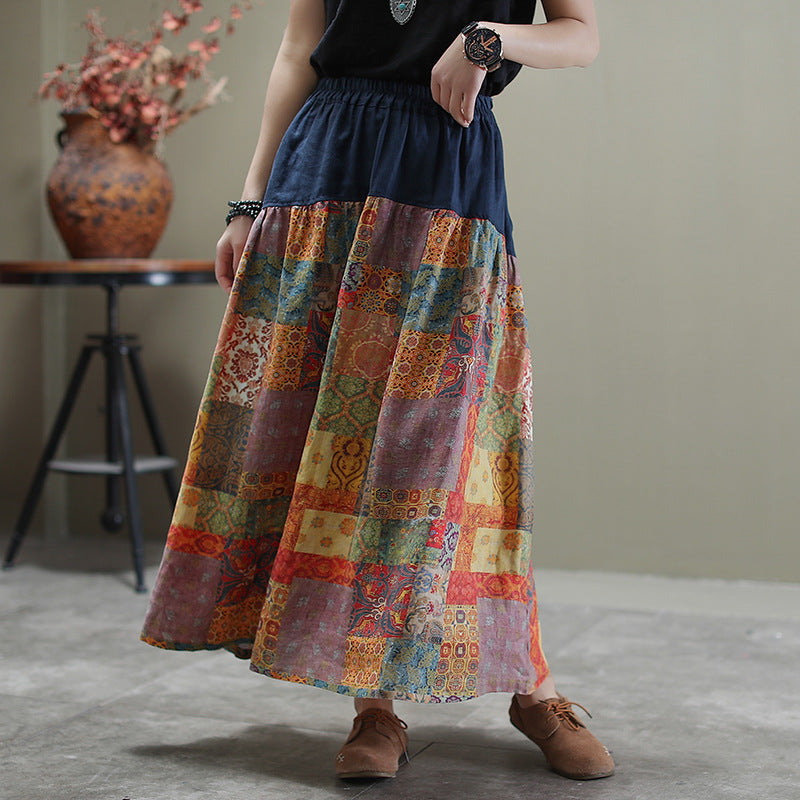 Spring Retro Stitching Printed Skirt