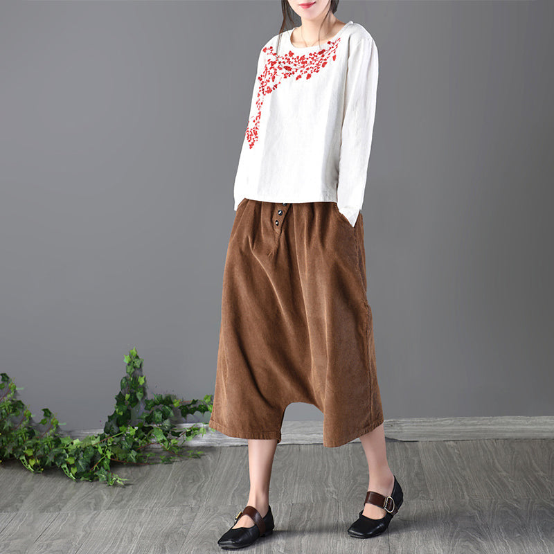 Spring Round Neck Plum Blossom Embroidery T-Shirt