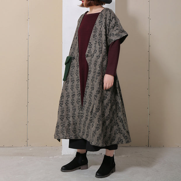 Spring Spliced Loose Short Sleeve Women Coat